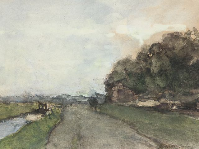 Jan Hendrik Weissenbruch | Landscape near 'Cromvliet' along the 'Vliet', Rijswijk; on the reverse: Sailing ship at sea, watercolour on paper, 31.9 x 43.0 cm, signed l.r.