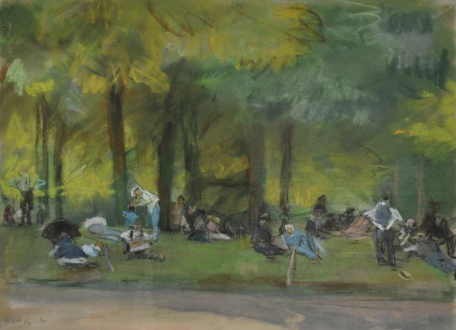 Isaac Israels | In the Bois de Boulogne, pastel on paper, 31.3 x 39.2 cm, signed l.l.