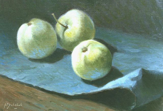 Anthonie Pieter Schotel | Three apples, oil on canvas laid down on panel, 21.8 x 30.3 cm, signed l.l.