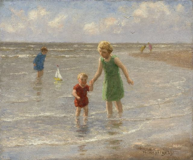 Henri Heijligers | Children paddling along the beach, oil on canvas, 38.1 x 46.0 cm, signed l.r.