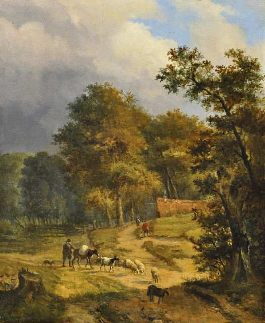 Louis Pierre Verwee | A shepherd and flock on a wooded path, oil on panel, 33.9 x 27.7 cm