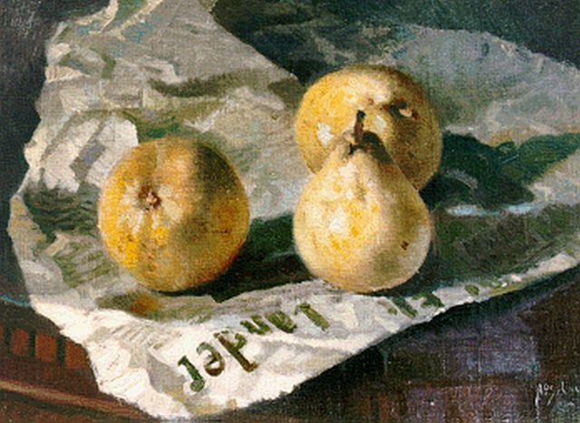 Anthonie Pieter Schotel | Still life with pears, oil on canvas laid down on panel, 31.4 x 40.3 cm, signed l.r.