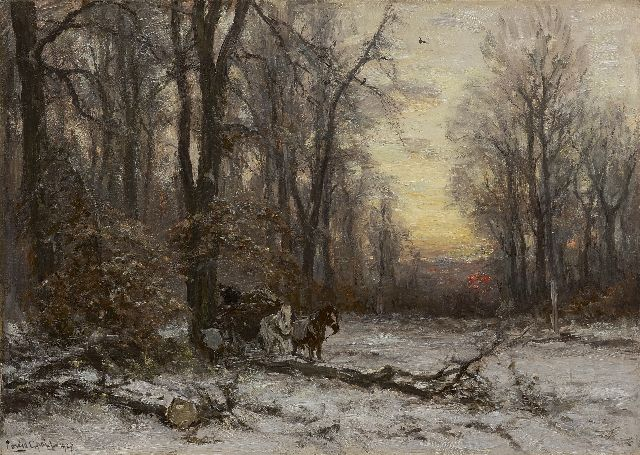 Louis Apol | A forest in winter with a horse drawn cart, oil on canvas, 50.4 x 70.5 cm, signed l.l. and dated 1927