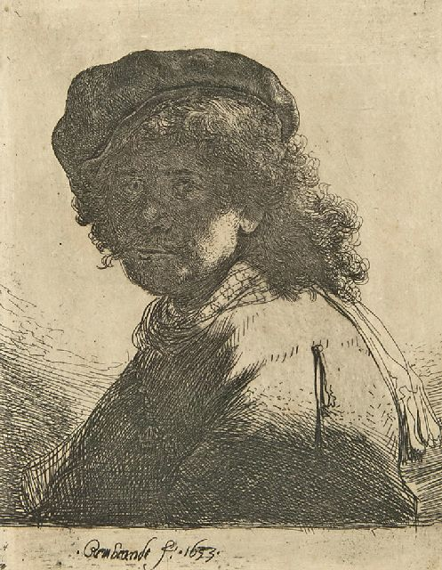 Rembrandt (Rembrandt Harmensz. van Rijn) | Self-portrait in a velvet cap and scarf, etching on paper, 13.2 x 10.3 cm, signed l.c. in the plate and dated 1633 in the plate