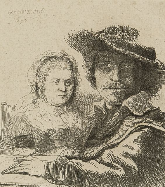 Rembrandt (Rembrandt Harmensz. van Rijn) | Selfportrait with Saskia, etching on paper, 10.5 x 9.4 cm, signed u.l. in the plate and dated 1636 in the plate