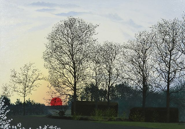 Ali Goubitz | The Buissche Heide at sunset, oil on panel, 50.0 x 70.0 cm, signed l.r. and dated '66
