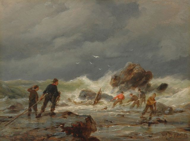 Pieter Cornelis Dommershuijzen | Salvaging a wreck, oil on panel, 15.2 x 20.2 cm, signed l.r. with initials and dated 1895