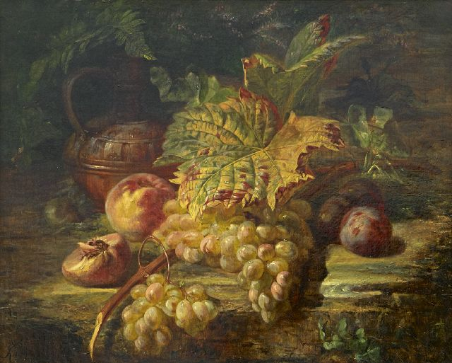 François Huygens | A still life with grapes, oil on canvas, 48.6 x 59.5 cm, signed l.l. and dated '60