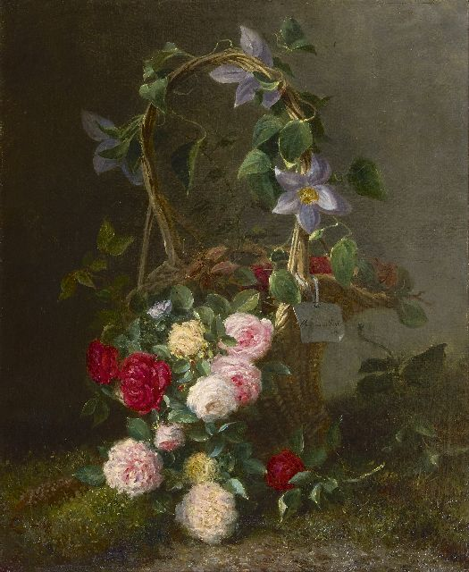 Maria van der Voort in de Betouw-Nourney | Roses in an ornamental basket, oil on canvas, 79.5 x 66.5 cm, signed c.r. on a painted label and dated 1885