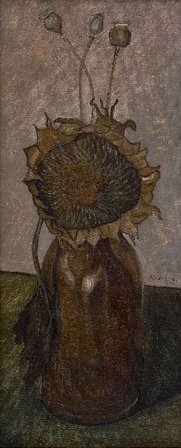 Jo Lodeizen | Vase with sunflower, oil on canvas laid down on painter's board, 49.0 x 21.0 cm, signed r.c. and dated '32