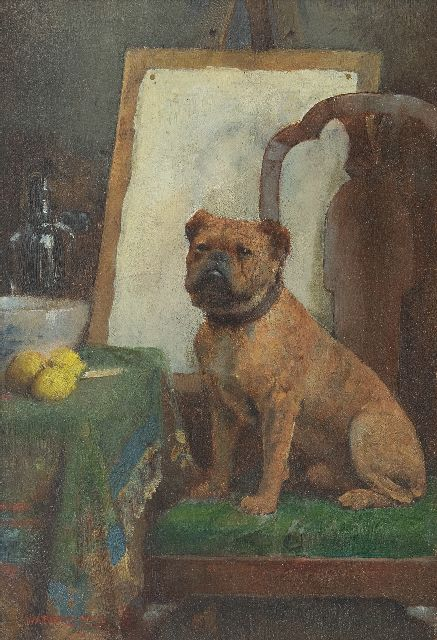 Breakspeare W.A.  | The painter's dog, oil on panel 25.0 x 17.2 cm, signed l.l.