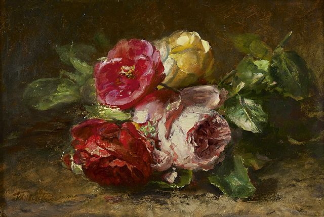 Anna Peters | Roses on the forest ground, oil on canvas, 21.5 x 31.5 cm, signed l.l.