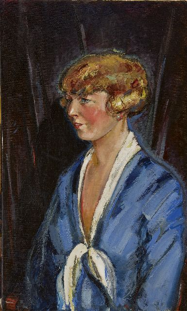 Kees Maks | A portrait of a young woman, oil on canvas, 90.3 x 55.1 cm