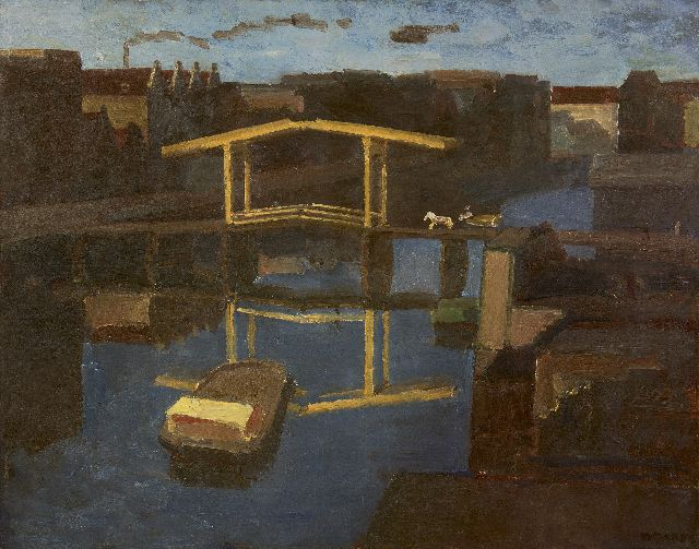 Kees Maks | The drawbridge (view from  the artist's studio on the Prinseneiland, Amsterdam), oil on canvas, 79.4 x 100.0 cm, signed l.r.