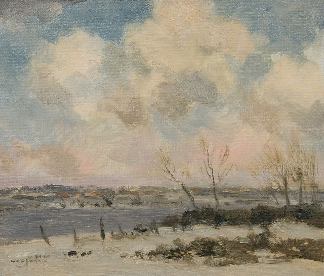 Willem George Frederik Jansen | Winterscene, oil on canvas, 30.4 x 35.2 cm, signed l.l.