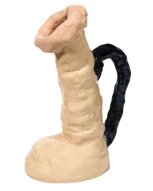 Toorn J.P. van den | Sculpture in the shape of a jug, earthenware 30.0 x 17.0 cm, signed on the side of the base and dated 2009