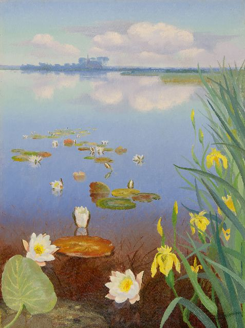Dirk Smorenberg | A view of a lake with water lilies, oil on canvas, 60.1 x 45.0 cm, signed l.r. and painted ca. 1930
