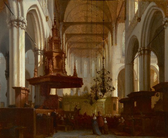 Schenkel J.J.  | In the Nieuwe Kerk in Amsterdam, oil on panel 30.5 x 36.8 cm, signed l.r.