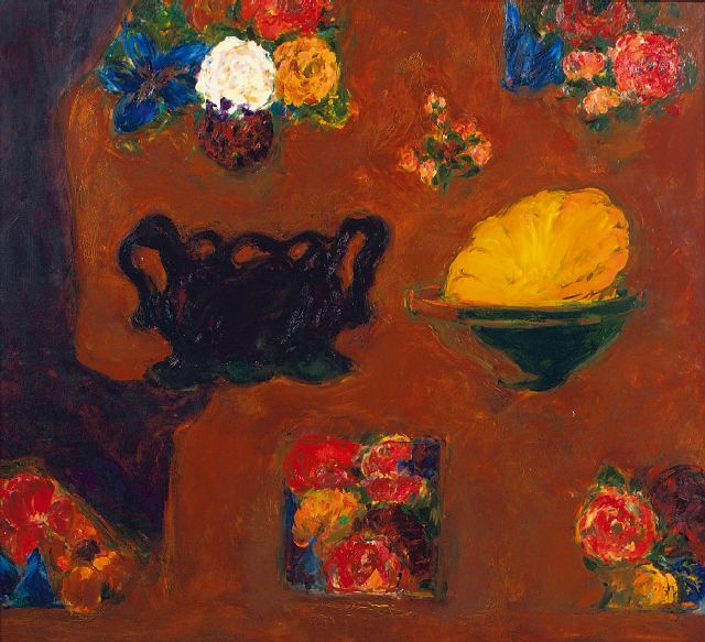 Hans van Hoek | Bowl within a bowl, oil on canvas, 145.0 x 145.0 cm, signed on the reverse and dated on the reverse '95-97