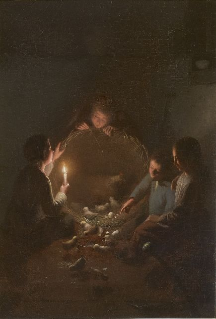 Johannes Rosierse | A stable interior with chickens by candlelight, oil on canvas, 36.0 x 27.3 cm, signed l.r.
