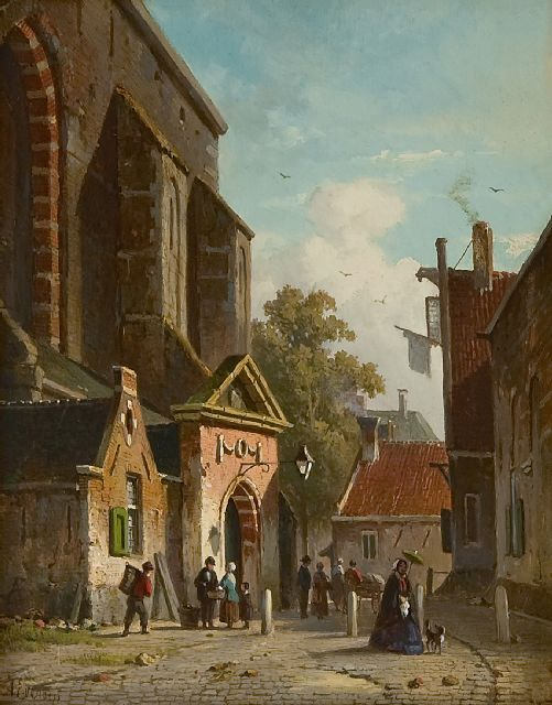 Eversen A.  | A view of southern entrance of the Waalse Kerk, Haarlem, oil on panel 19.2 x 15.2 cm, signed l.l. in full and with monogram