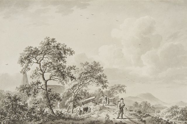 Koekkoek B.C.  | Land folk on a sandy path near a village, pen, brush and ink on paper 17.5 x 26.0 cm, signed l.l.