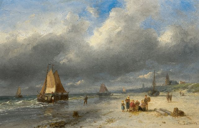 Leickert C.H.J.  | Bringing in the catch, Scheveningen, oil on panel 25.8 x 40.3 cm, signed l.r.