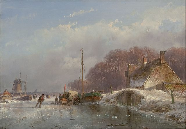 Andreas Schelfhout | A winter landscape with a koek-en-zopie, oil on panel, 17.0 x 24.1 cm, signed l.r. and painted circa 1860