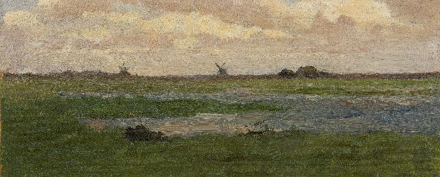Paul Joseph Constantin Gabriel | A polder landscape with windmills in the distance, oil on canvas laid down on panel, 16.0 x 38.0 cm