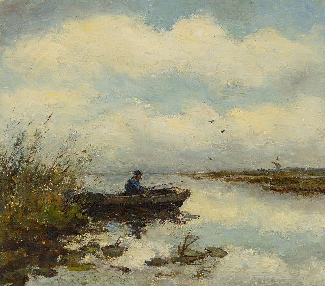 Jan Hendrik Weissenbruch | A fisherman in a barge in a polder landscape, oil on panel, 16.2 x 18.2 cm, signed traces of signature c.l.