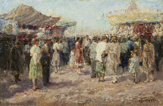 Otto Pippel | At the fair, oil on panel, 33.8 x 51.6 cm, signed l.r.