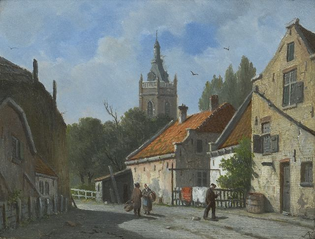 Adrianus Eversen | A sunny town view  in Overschie, oil on panel, 20.7 x 26.8 cm, signed l.r. with monogram