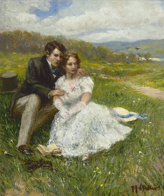 Gerard Johan Staller | A young couple in the dunes, oil on canvas laid down on board, 15.2 x 13.0 cm, signed l.r.