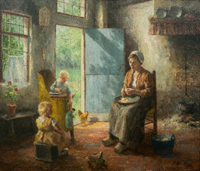 Pieters E.  | Domestic bliss, oil on canvas 79.2 x 93.3 cm, signed l.r.