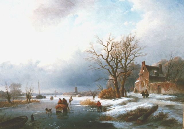 Jan Jacob Spohler | Frozen waterway with skaters, oil on canvas, 43.8 x 62.3 cm, signed l.r.