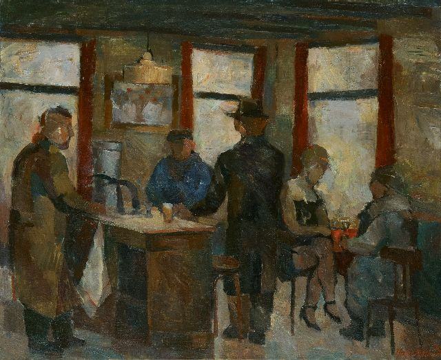 Heeren J.H.P.G.  | Café interior in Middelburg, oil on canvas 100.0 x 120.5 cm, signed l.r. and dated  '69