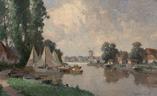 Gerard Delfgaauw | A river with moored sailing boats, oil on canvas, 50.4 x 80.4 cm, signed l.r. and on the stretcher
