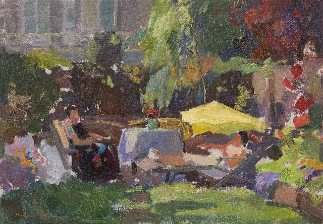 Henk van Leeuwen | A summer day in the garden, oil on canvas, 35.2 x 49.9 cm, signed l.l.