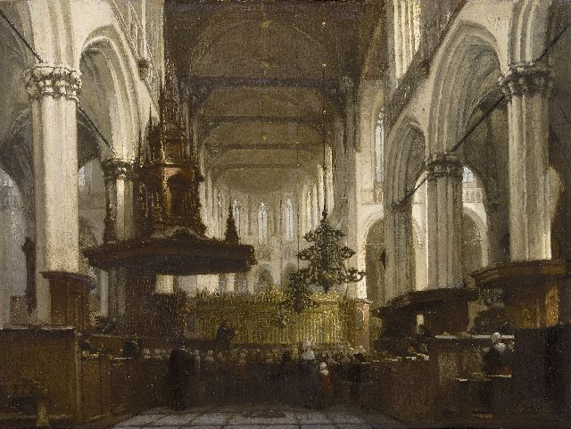 Jan Jacob Schenkel | Worship service in the Nieuwe Kerk in Amsterdam, oil on canvas, 45.8 x 59.0 cm, signed l.r.