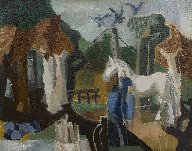 Wim Bosma | Man, woman and horse near a farm, oil on board, 59.0 x 74.1 cm, signed l.r. and dated 1950