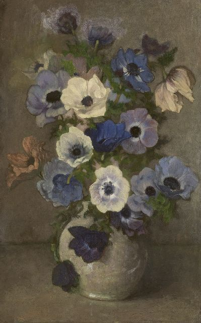 Wandscheer M.W.  | Anemones in a white vase, oil on canvas laid down on board 60.7 x 41.0 cm, signed l.r. with initials