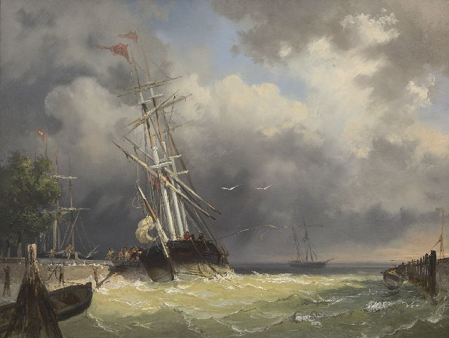 Breuhaus de Groot F.A.  | A threemaster entering the harbour in a storm, oil on panel 44.4 x 59.5 cm