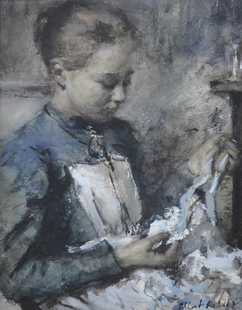 Albert Roelofs | Maid-servant with a blue ribbon, watercolour on paper, 20.8 x 15.6 cm, signed l.r. and painted 1901