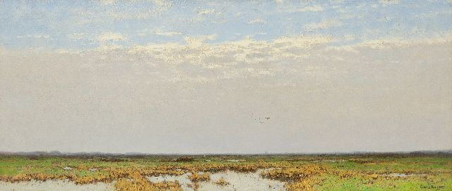 Cornelis Kuijpers | An extensive polder landscape, oil on canvas, 56.3 x 132.3 cm, signed l.r.
