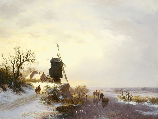 Frederik Marinus Kruseman | A winter landscape with a windmill, oil on panel, 33.5 x 44.0 cm, signed l.l. and dated '42
