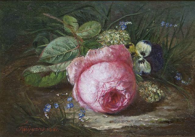 François Huygens | A rose and wild flowers on the forest soil, oil on panel, 18.9 x 26.1 cm, signed l.l. and dated 1861