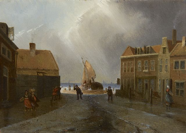 Joseph Bles | A Dutch fishing village in stormy weather, oil on panel, 15.9 x 22.0 cm, signed l.l.