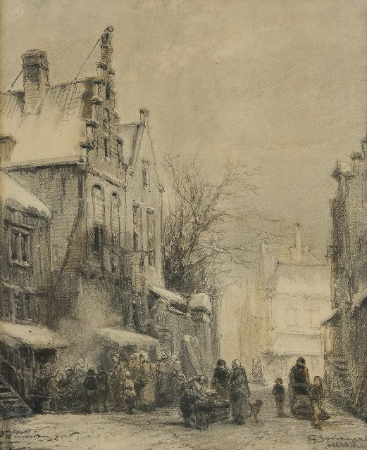 Springer C.  | A Dutch town view in winter, charcoal on paper 50.5 x 40.0 cm, signed l.r. and dated 1861