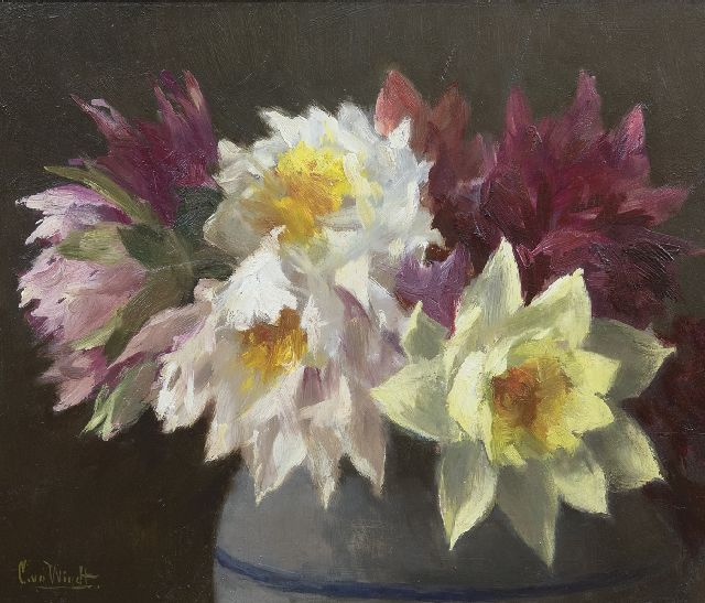 Chris van der Windt | Dahlias, oil on panel, 29.5 x 34.8 cm, signed l.l.