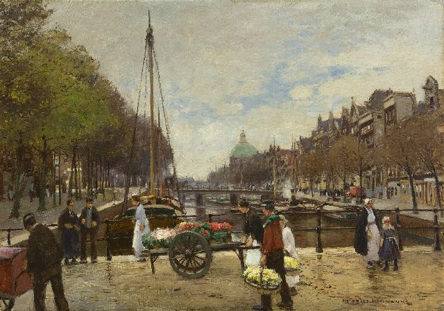 Hermanns H.  | Flower sellers on the Lijnbaansbrug, Amsterdam, oil on canvas 63.9 x 89.5 cm, signed l.r.